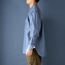 画像3: 【20%OFF】デニムシャンブレーバンドカラーシャツ|ブルー (3)
