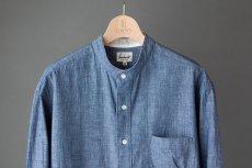 画像7: 【20%OFF】デニムシャンブレーバンドカラーシャツ|ブルー (7)