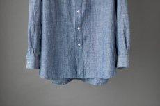 画像8: 【20%OFF】デニムシャンブレーバンドカラーシャツ|ブルー (8)