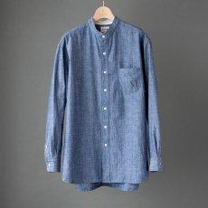 画像5: 【20%OFF】デニムシャンブレーバンドカラーシャツ|ブルー (5)