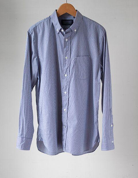 画像1: HANDROOM ミニギンガムボタンダウンシャツ|ネイビー (1)