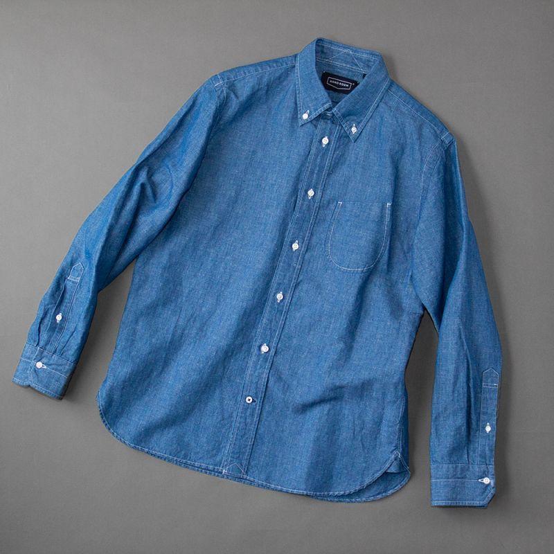 画像1: HANDROOM コットンリネンダンガリーBDシャツ (1)
