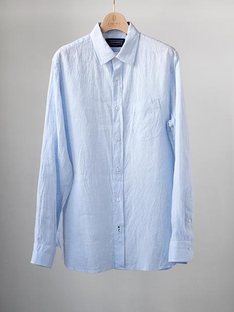 画像1: 【30%OFF】HANDROOM リネンレギュラーシャツ|サックス (1)