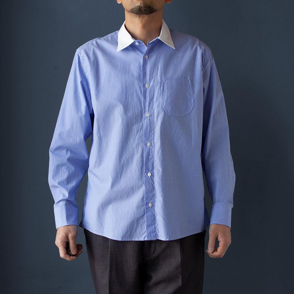 画像1: セミワイドスプレッドクレリックシャツ ブルー (1)