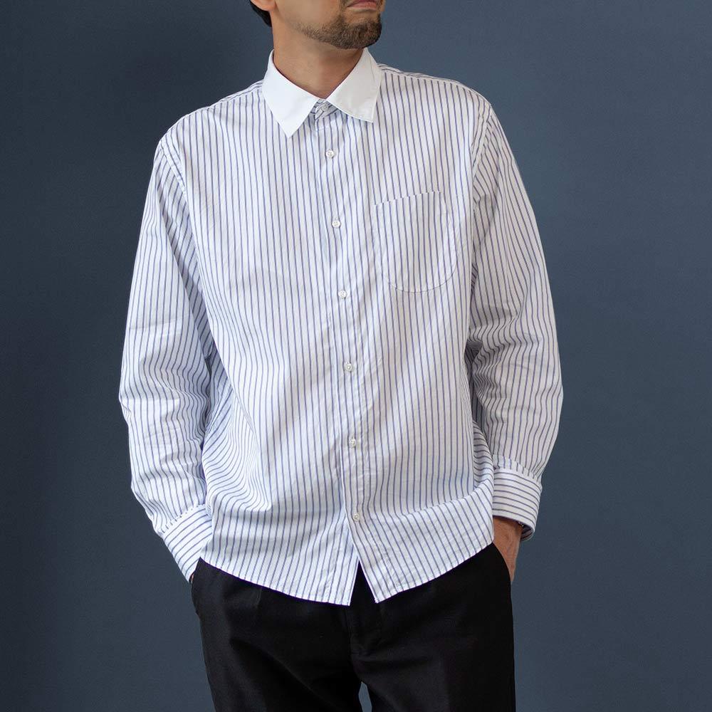 画像1: セミワイドスプレッドクレリックシャツ|ホワイト (1)