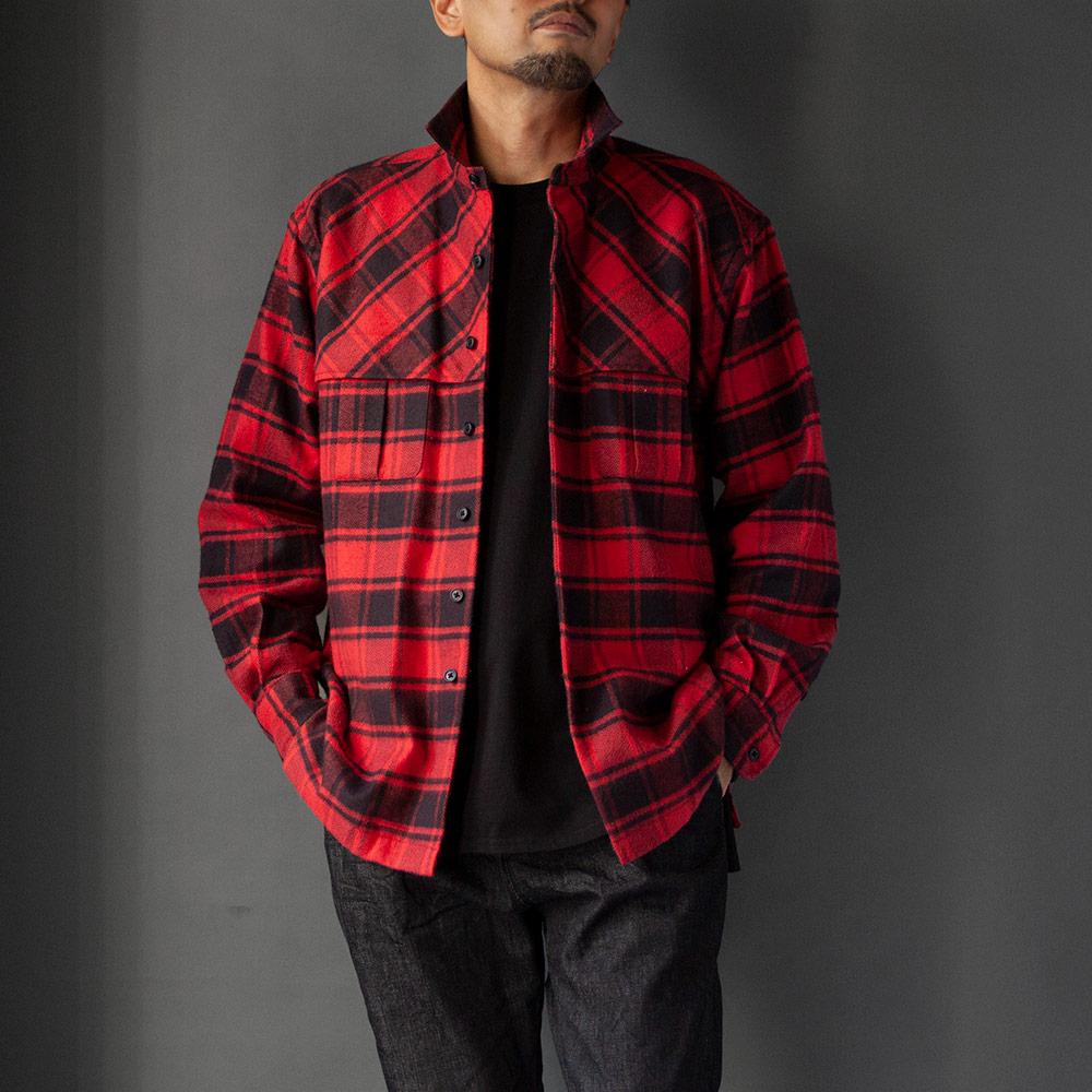 画像1: relax mackinaw shirts jacket - CHECK NEL RED (1)