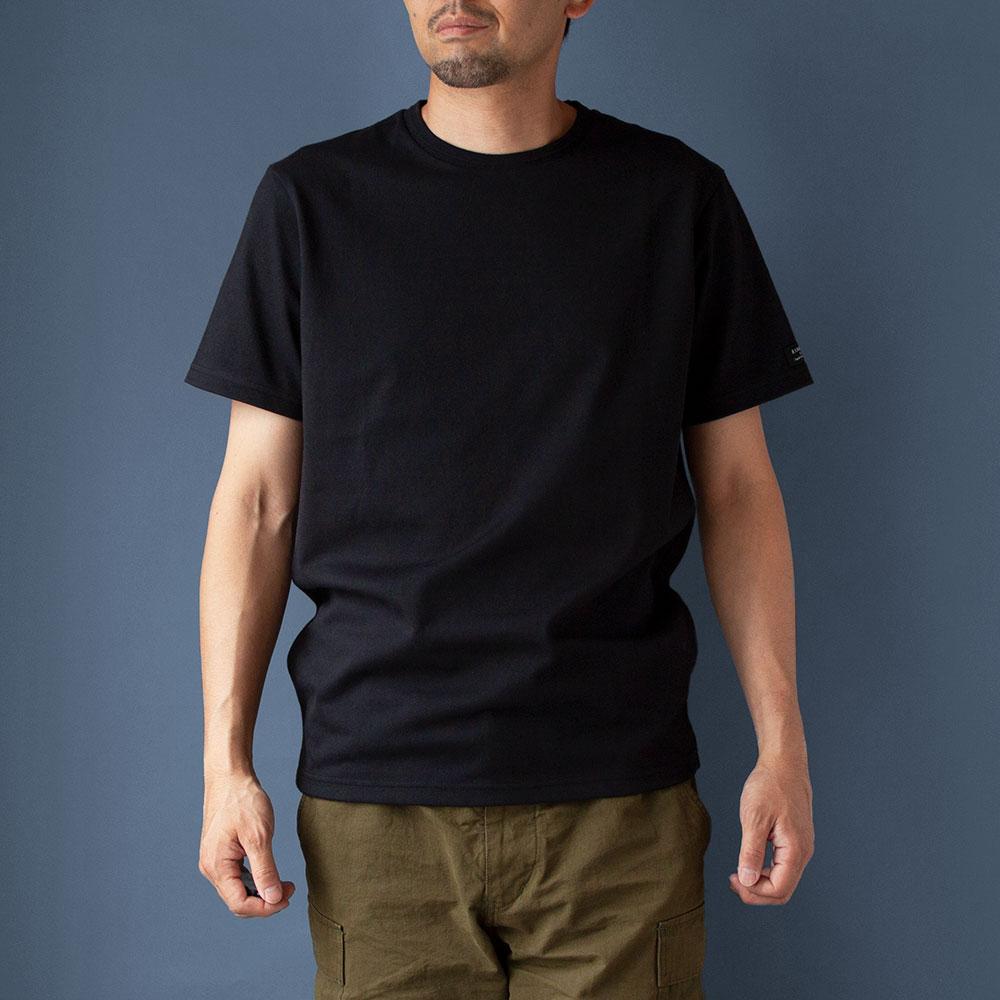 画像1: インド超長綿天竺タック衿Tシャツ|ブラック (1)