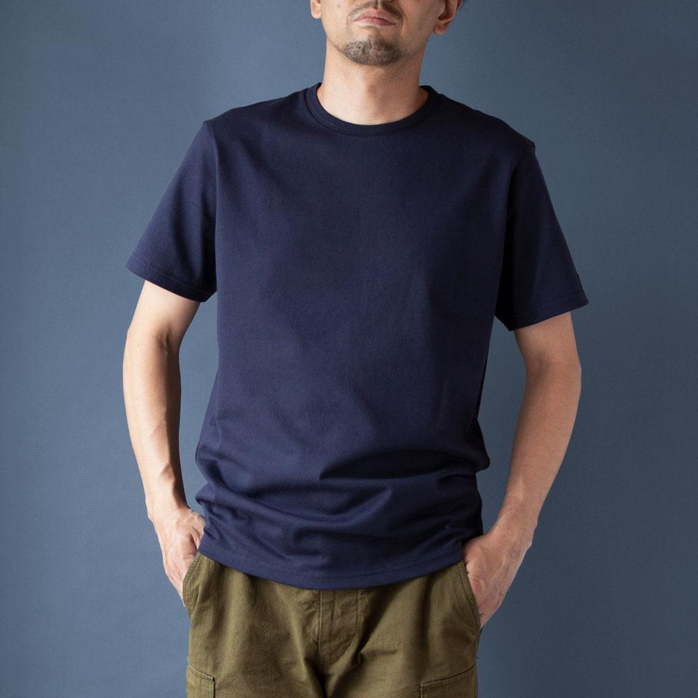 画像1: インド超長綿天竺タック衿Tシャツ ネイビー (1)