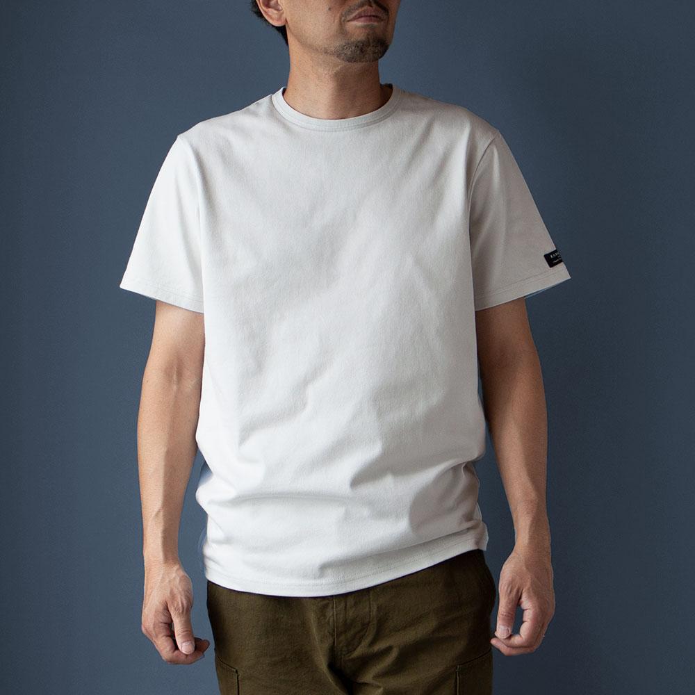 画像1: インド超長綿天竺タック衿Tシャツ|シルバー (1)