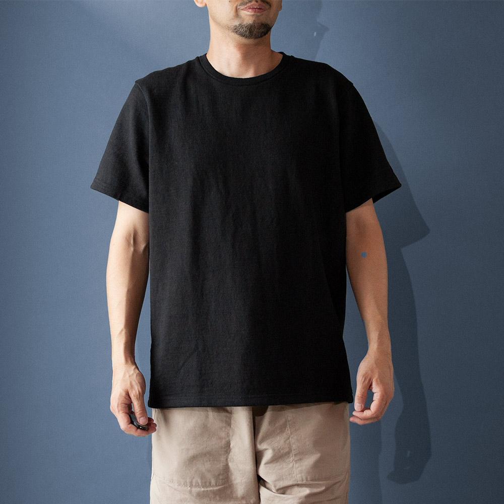 画像1: コットンリネンモンスターオンスTシャツ ブラック (1)