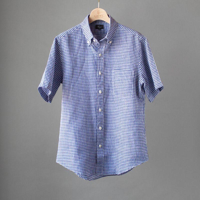 画像1: Harriss リネンギンガムチェックB.D.半袖シャツ (1)