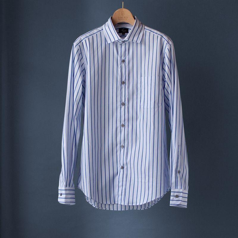 画像1: ワイドスプレッドストライプシャツ|ブルー (1)
