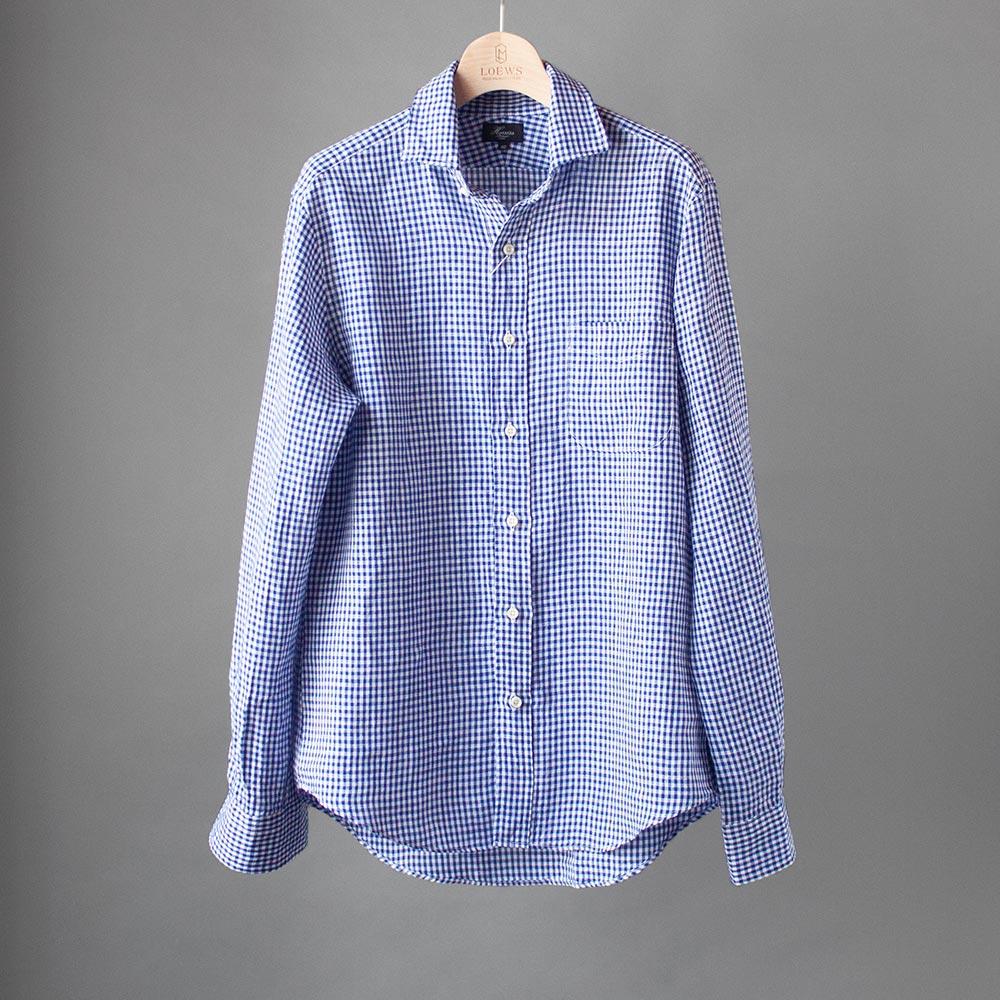 画像1: Harriss リネンギンガムチェックワイドスプレッドシャツ (1)