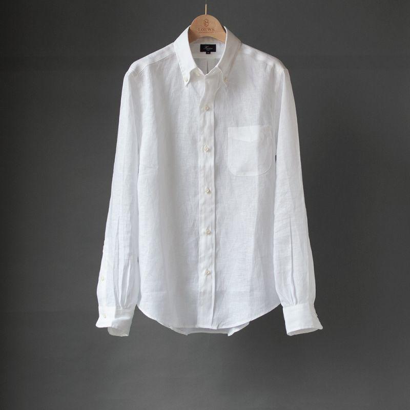 画像1: 【30%OFF】HARDMANS LINEN B.D.シャツ|ホワイト (1)