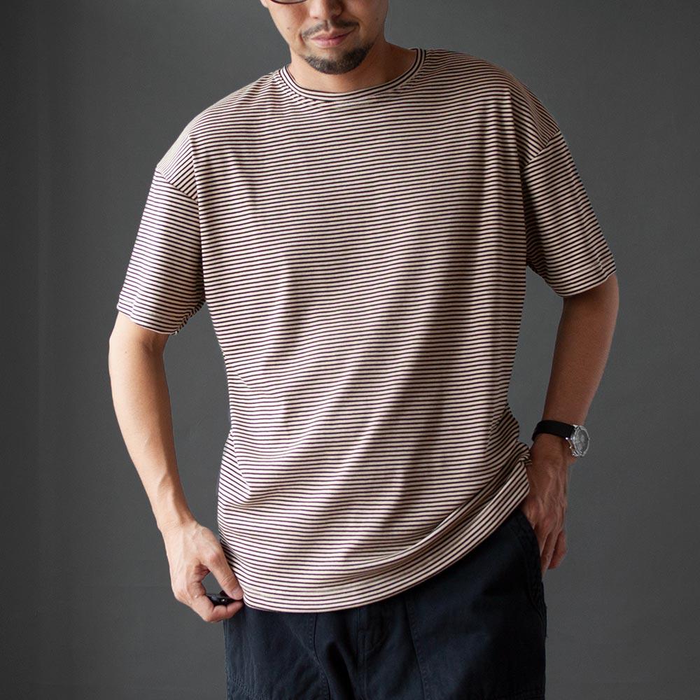 画像1: 【30%OFF】コットンポリエステルボーダーTシャツ|BEIGExBROWN (1)