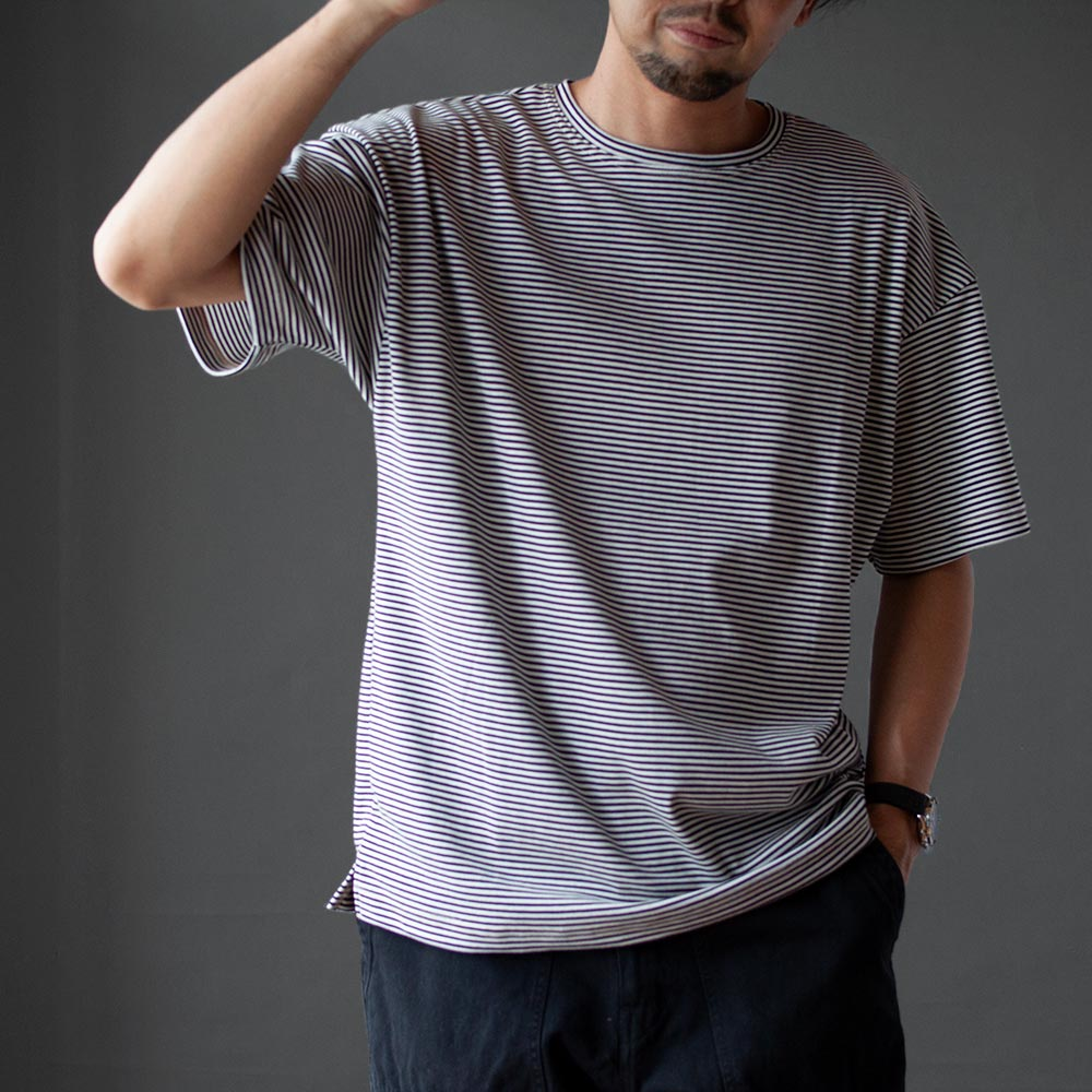 画像1: 【30%OFF】コットンポリエステルボーダーTシャツ|WHITExBLACK (1)