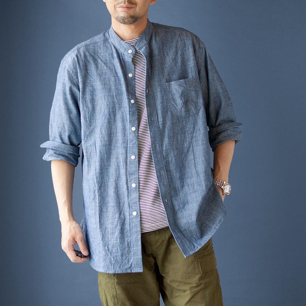 画像1: 【20%OFF】デニムシャンブレーバンドカラーシャツ|ブルー (1)