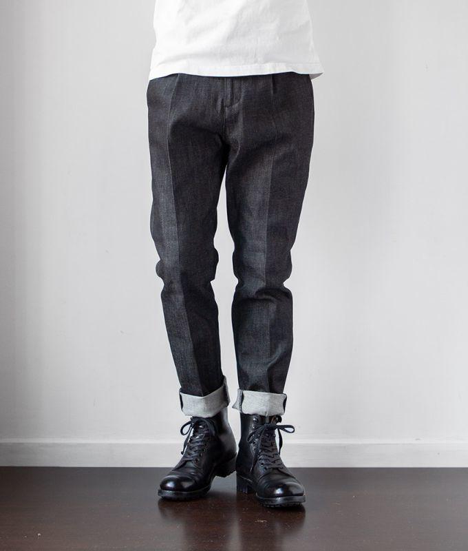 画像1: denim slacks|black (1)