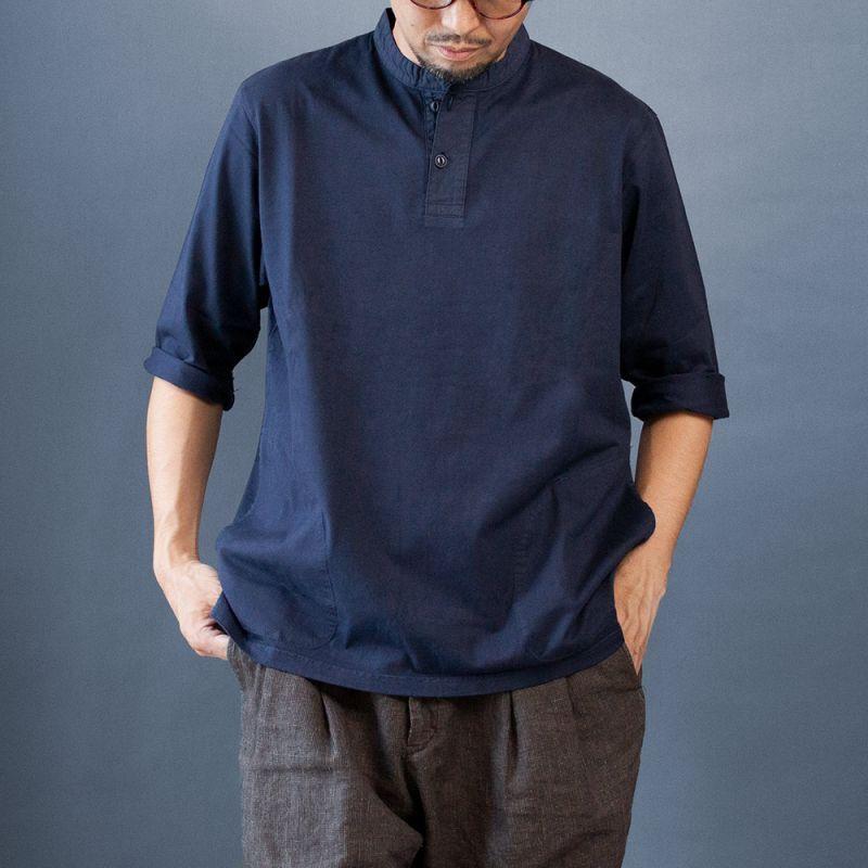 画像1: 7分袖ヘンリーネックTシャツ|ネイビー (1)