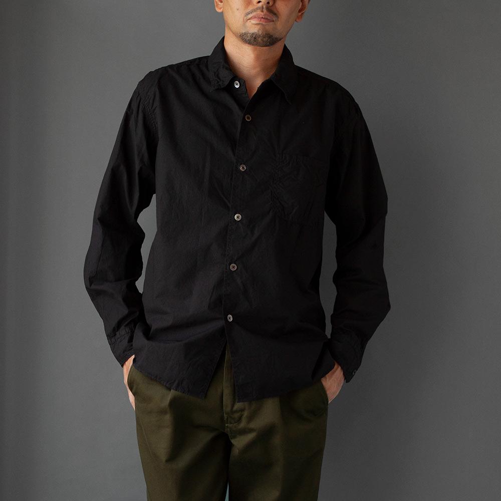 画像1: タイプライターパッカリングシャツ ブラック (1)