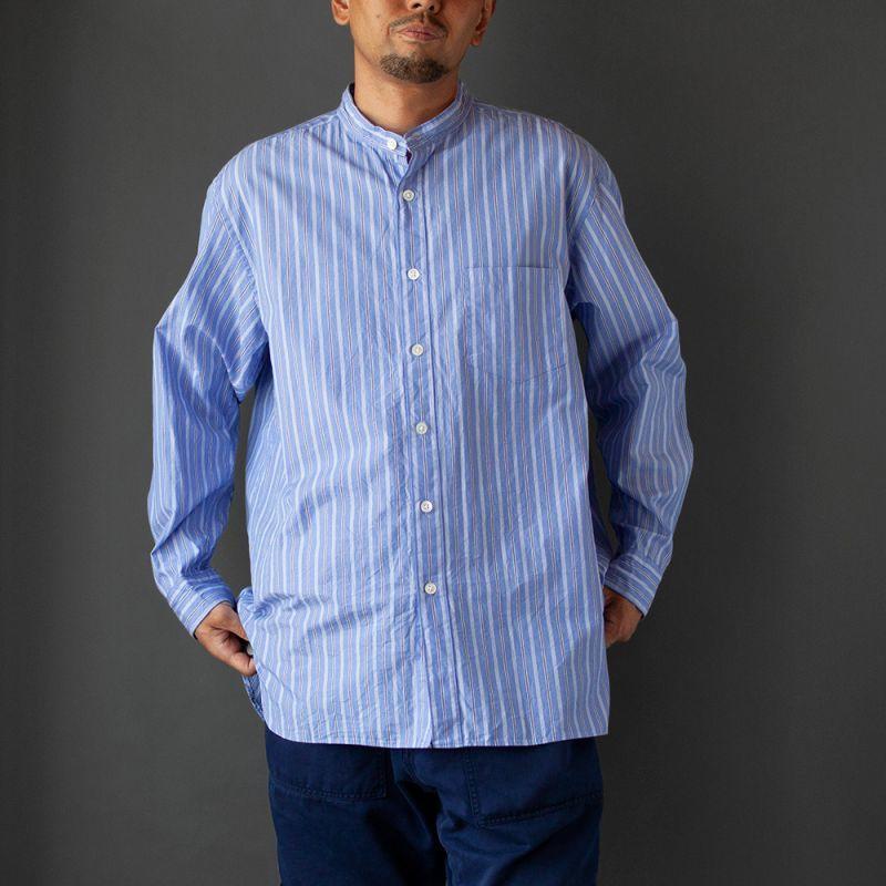 画像1: 【30%OFF】ストライプスタンドカラーシャツ|ブルー (1)