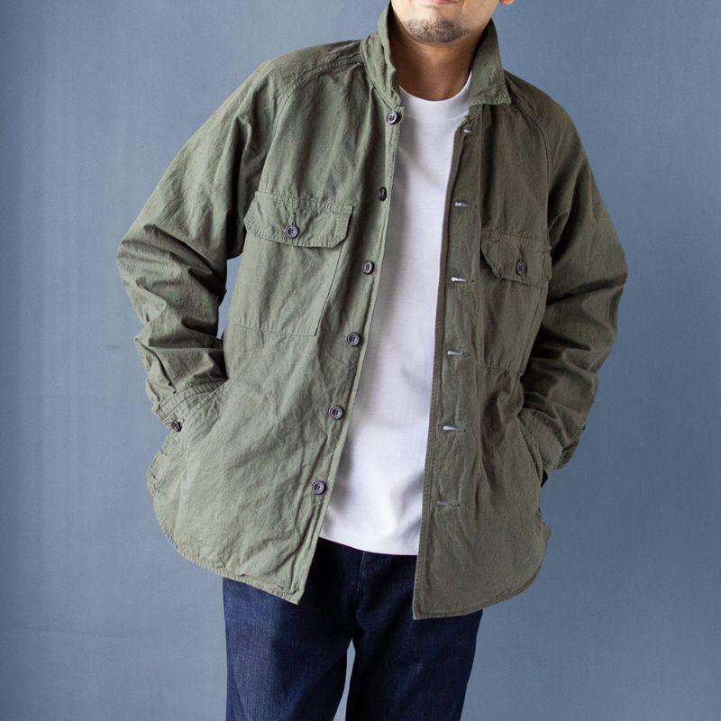 画像1: コットンヘンプミリタリーシャツジャケット|カーキ (1)