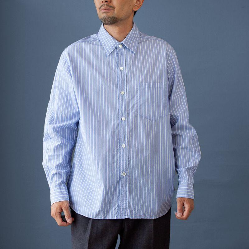 画像1: スプリットラグランレギュラーシャツ|ブルー (1)
