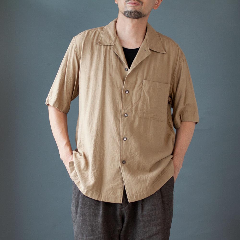 画像1: 【20%OFF】コットンレーヨンオープンカラーシャツ|ベージュ (1)