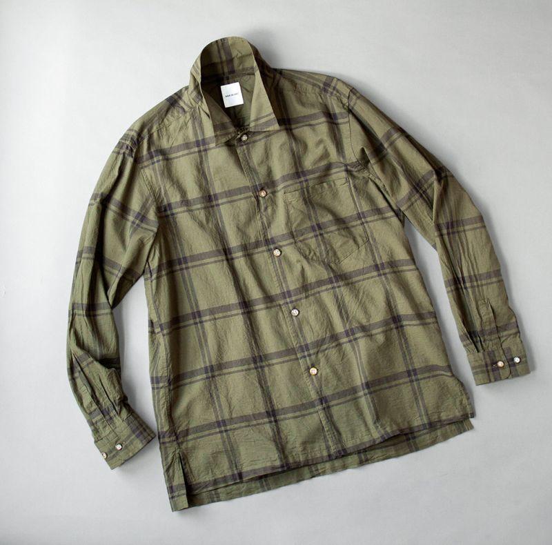 画像1: SAGE DE CRET コットンシルクローンチェックオープンカラーシャツ|カーキ (1)