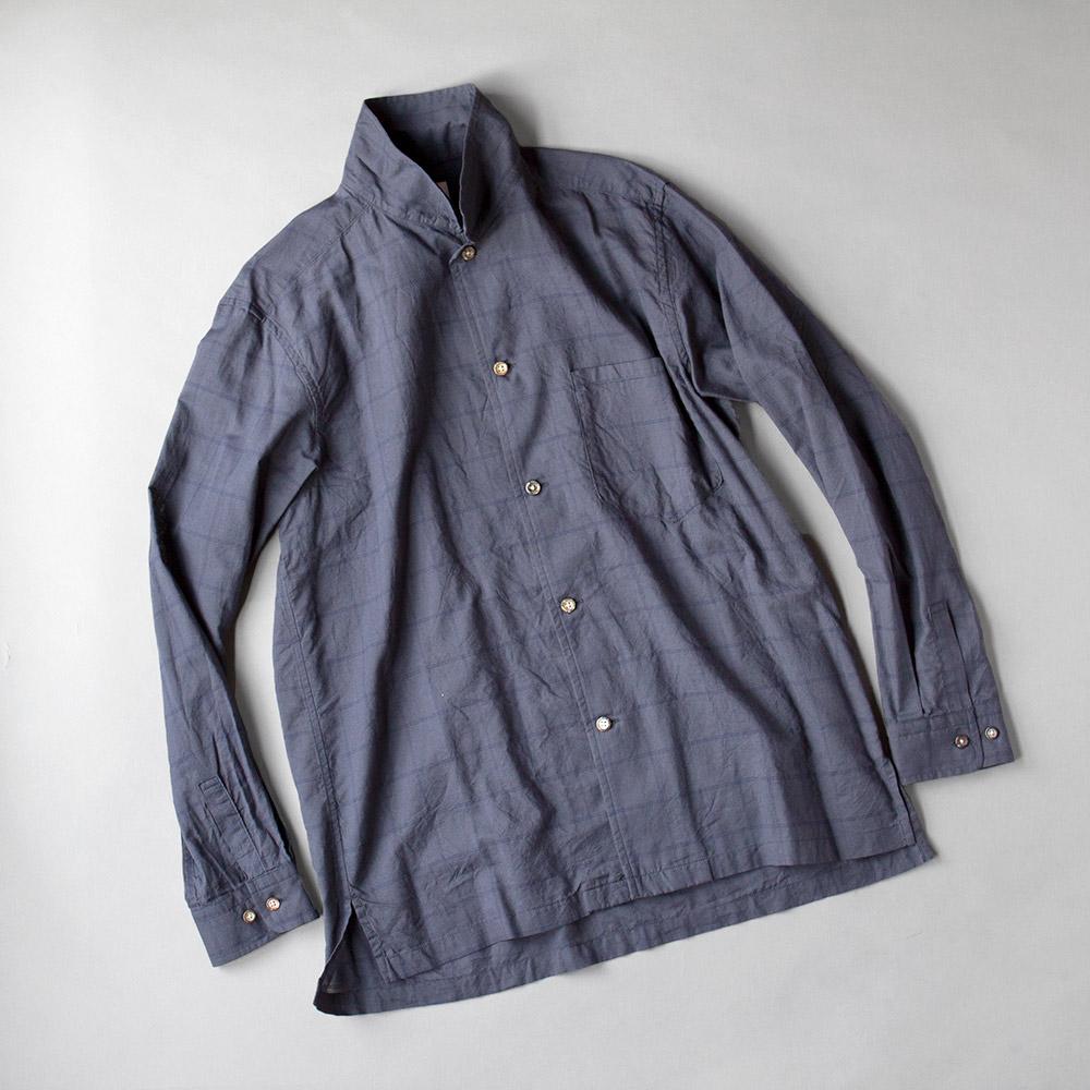 画像1: SAGE DE CRET コットンシルクローンチェックオープンカラーシャツ|ネイビー (1)