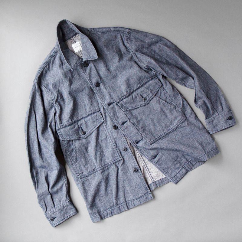画像1: SAGE DE CRET コットンリネンミリタリーシャツ (1)