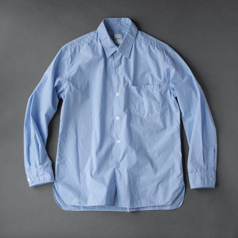 画像1: SAGE DE CRET タイプライターパッカリングシャツ|サックス (1)